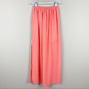 FOREVER 21 Pink Maxi Side Slit Skirt